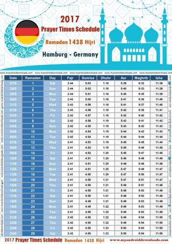 امساكية رمضان 2017 هامبورغ المانيا تقويم رمضان 1438 Ramadan Imsakiye 2017 Hamburg Germany | Ramadan 2017 Uhrzeiten