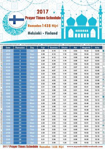امساكية رمضان 2017 هلسنكي فنلندا تقويم رمضان 1438 Ramadan Imsakiye 2017 Helsinki Finland
