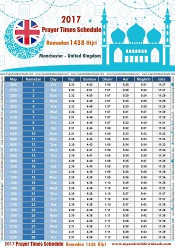 امساكية رمضان 2017 مانشستر بريطانيا تقويم رمضان 1438 Ramadan Imsakiye 2017 Manchester Britain