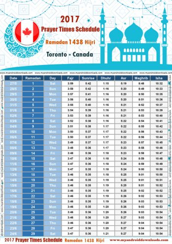 امساكية رمضان 2017 تورنتو كندا تقويم رمضان 1438 Ramadan Imsakiye 2017 Toronto Canada