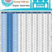 امساكية رمضان 2017 فرجينيا الولايات المتحدة الامريكية تقويم رمضان 1438 Ramadan Imsakiye 2017 Washington United States of America