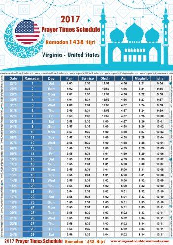 امساكية رمضان 2017 فرجينيا امريكا تقويم رمضان 1438 Ramadan Imsakiye 2017 Washington United States of America