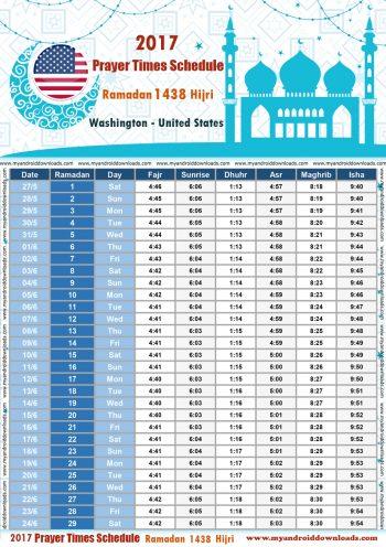 امساكية رمضان 2017 واشنطن امريكا تقويم رمضان 1438 Ramadan Imsakiye 2017 Washington USA