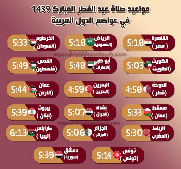 وقت صلاة العيد 2018 في عواصم الدول العربية - وقت صلاة عيد الفطر المبارك 2018 في الدول العربية
