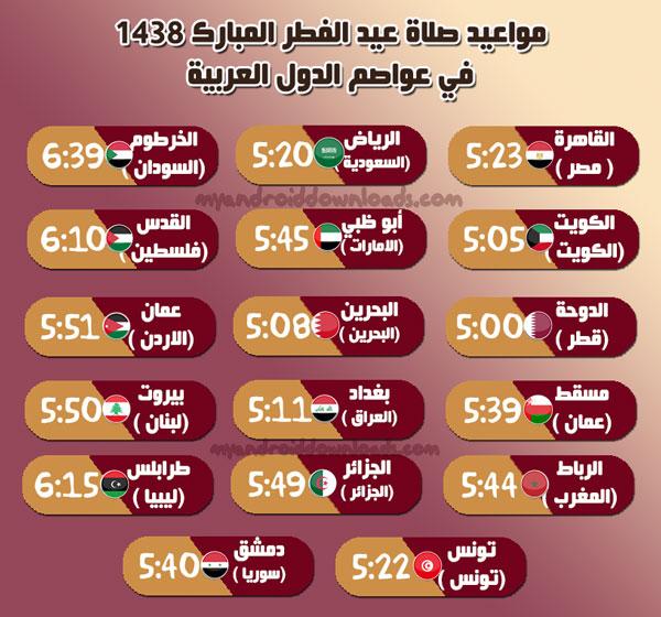 وقت صلاة العيد 2017 في عواصم الدول العربية - وقت صلاة عيد الفطر المبارك 2017 في الدول العربية