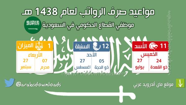 مواعيد صرف الرواتب 1438 حسب الابراج الشمسية ( تاريخ رواتب الابراج لشهر شوال ، ذو القعدة ، ذو الحجة لعام 1438 )