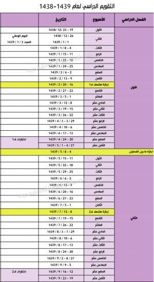 صورة التقويم الهجري 1439 الدراسي - التقويم الدراسي 1438-1439 - 2018 السعودية