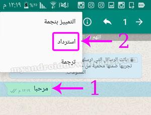 تحديد الرسالة التي ترغب في استردادها بعد تحميل واتس اب ابو عرب