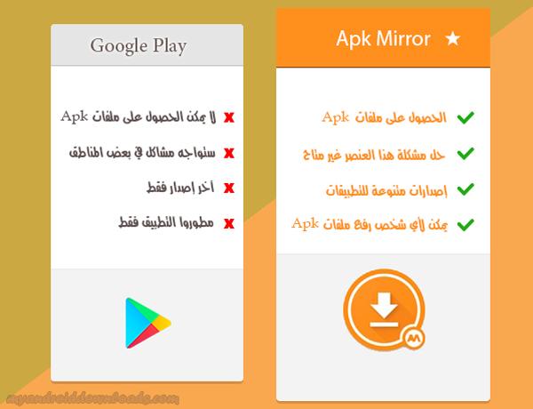 مقارنة بين كل من Apk Mirror App و Google Play