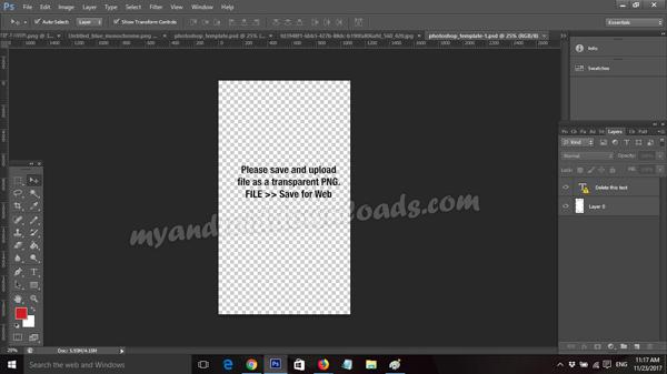 بيان طريقة عرض الموقع لملف فوتوشوب للبدء بالتصميم من خلاله