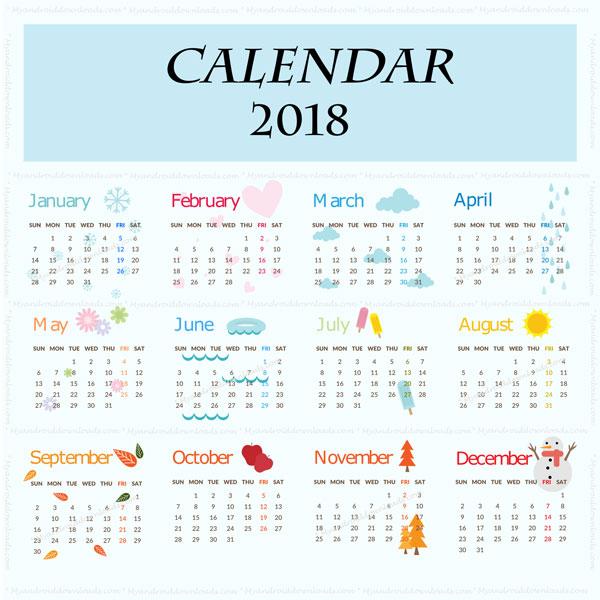 التقويم الميلادي بالانجليزي 2018 - English Calendar