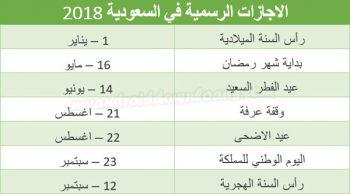 الاجازات السعودية في السعودية حسب تقويم 2018 عربي