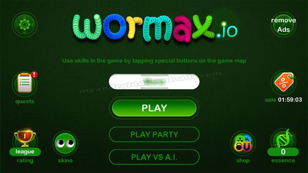 القائمة الرئيسية في لعبة الدودة ورماكس الجديدة - تحميل لعبة Wormax.io للاندرويد رابط مباشر