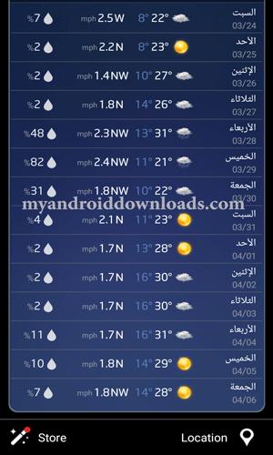 توقعات الطقس ل 10 أيام قادمة - تحميل برنامج احوال الطقس اليوم للجوال