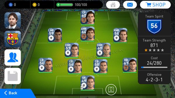 اختيار تشكيلة اللاعبين في لعبة PES 2018 للأندرويد