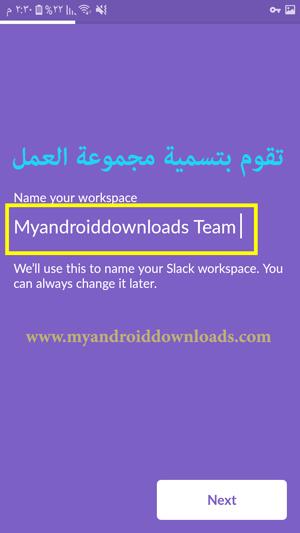 تقوم الان بتسمية جروب فريق العمل workspace name