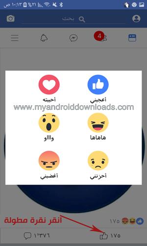 استخدام التفاعلات في فيسبوك لايت