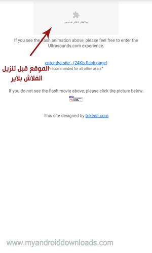الموقع قبل تنزيل الفلاش بلاير