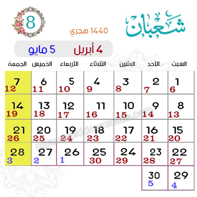 تقويم شهر شعبان 1440 - 2019