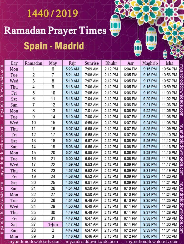 تحميل امساكية رمضان 2019 اسبانيا مدريد