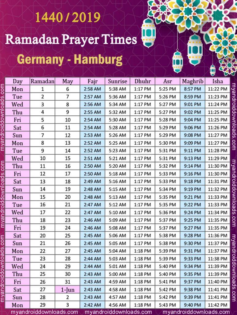 تحميل امساكية رمضان 2019 المانيا هامبورج Imsakiye 2019 Hamburg