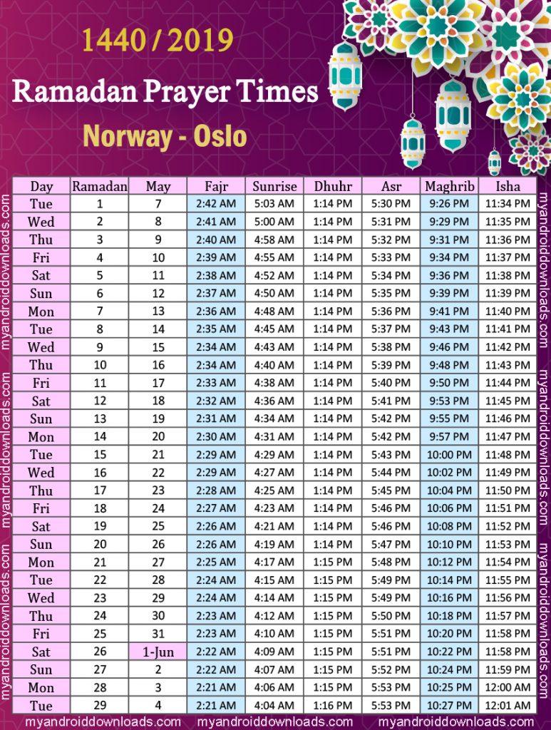 تحميل امساكية رمضان 2019 النرويج اوسلو
