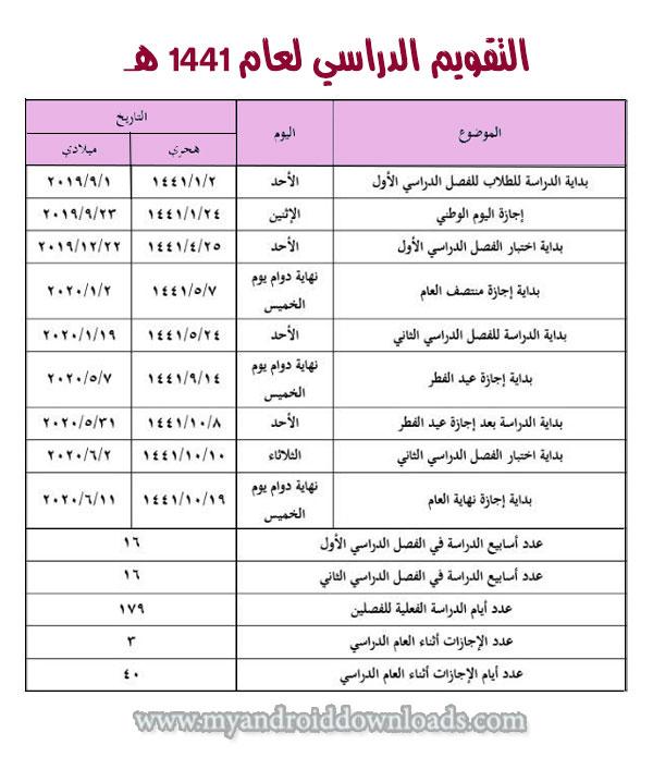 التقويم الدراسي 1441/ 2020 بالسعودية