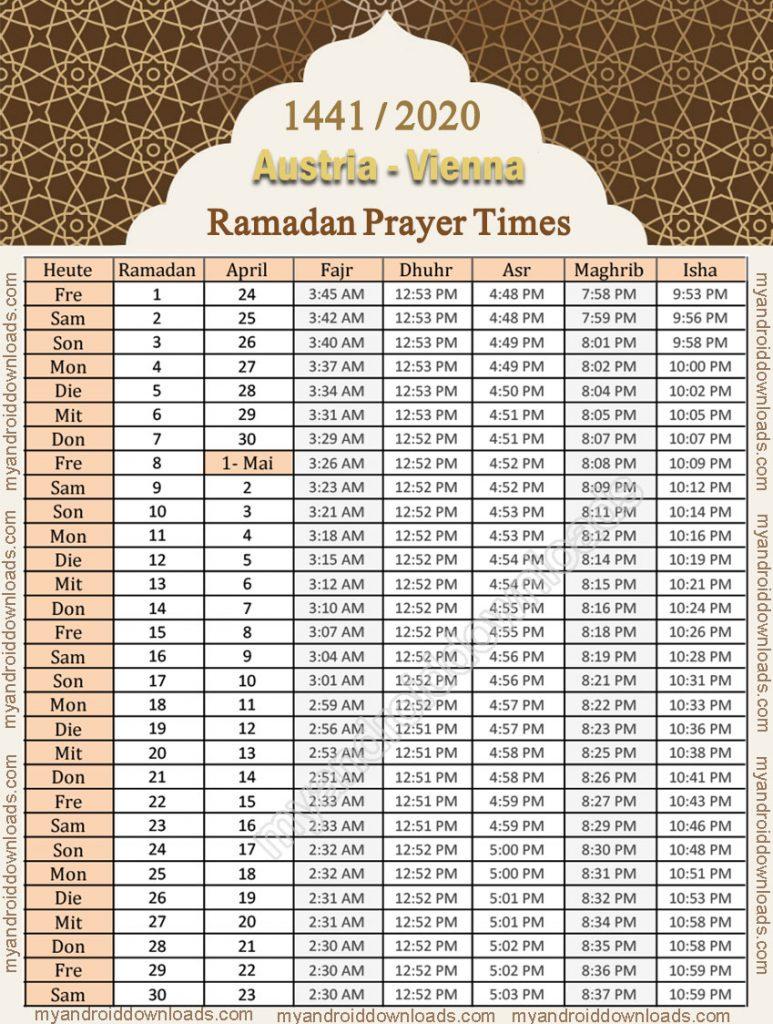 تحميل امساكية رمضان 2020 النمسا فينا تقويم رمضان 1441 موعد الامساك والافطار رمضان 2020