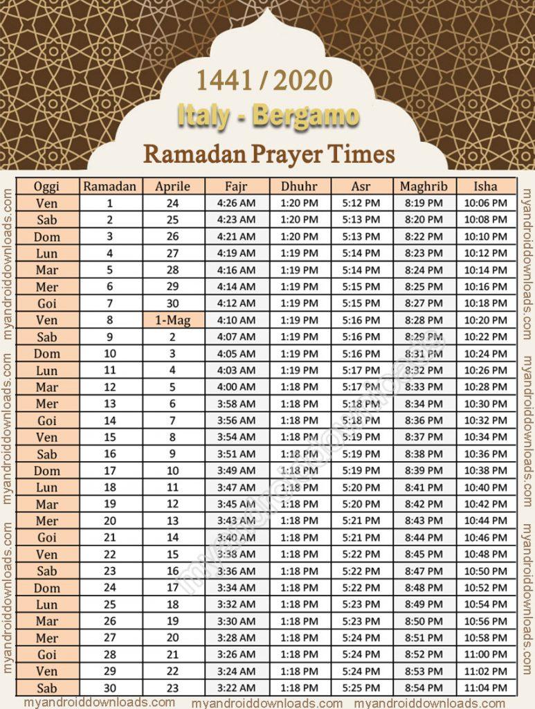 امساكية رمضان 2020 ايطاليا بيرغامو موعد الامساك والافطار 1441 تقويم رمضان 2020