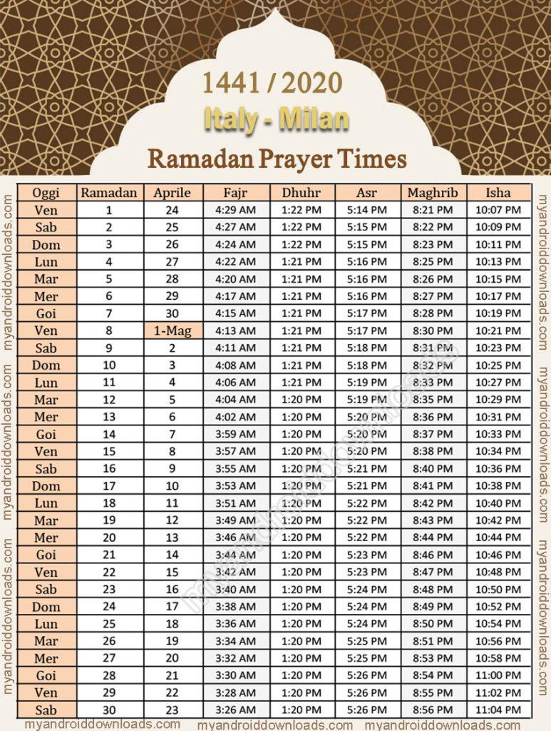 تحميل امساكية رمضان 2020 ايطاليا ميلان موعد الامساك والافطار تقويم 1441