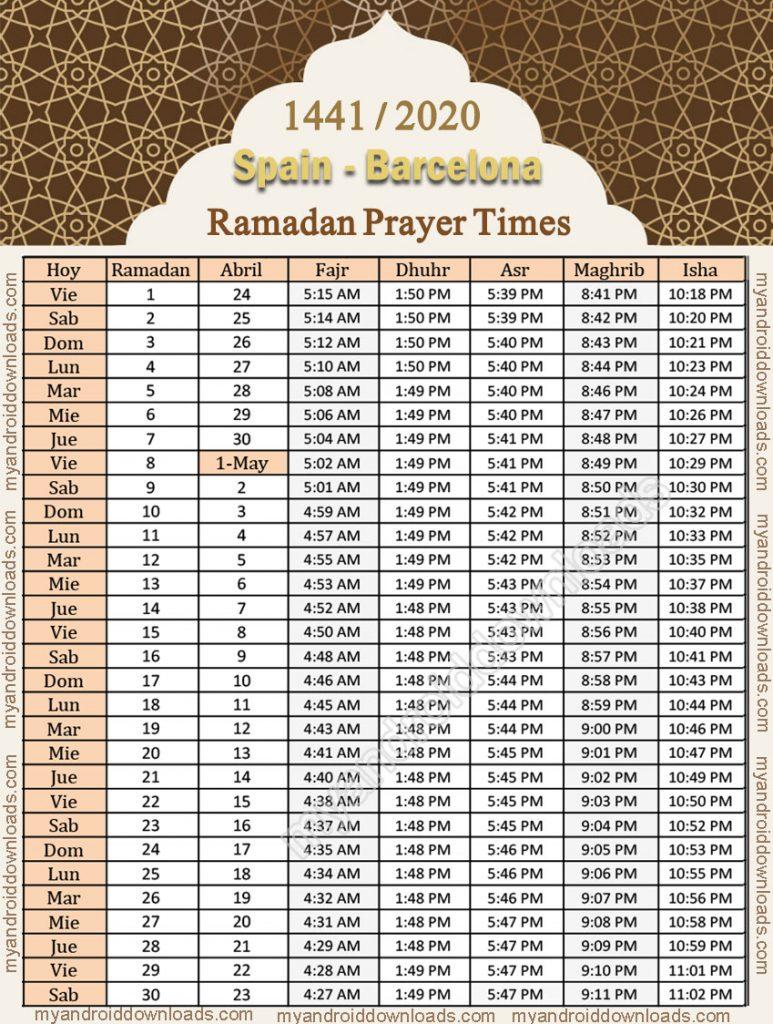 تحميل امساكية رمضان 2020 اسبانيا برشلونة تقويم رمضان 1441