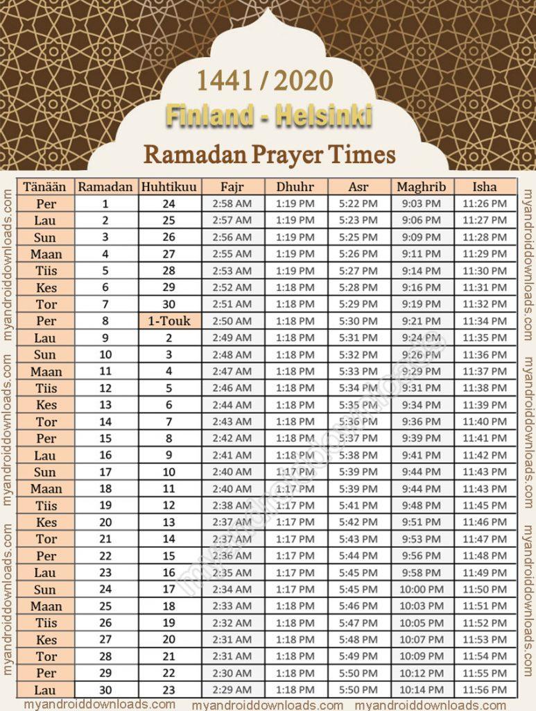 تحميل امساكية رمضان 2020 فنلندا هلسنكي تقويم 1441