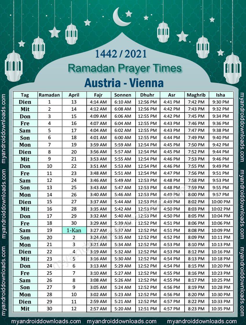 تحميل امساكية رمضان 2021 النمسا فينا تقويم رمضان 1442-2021