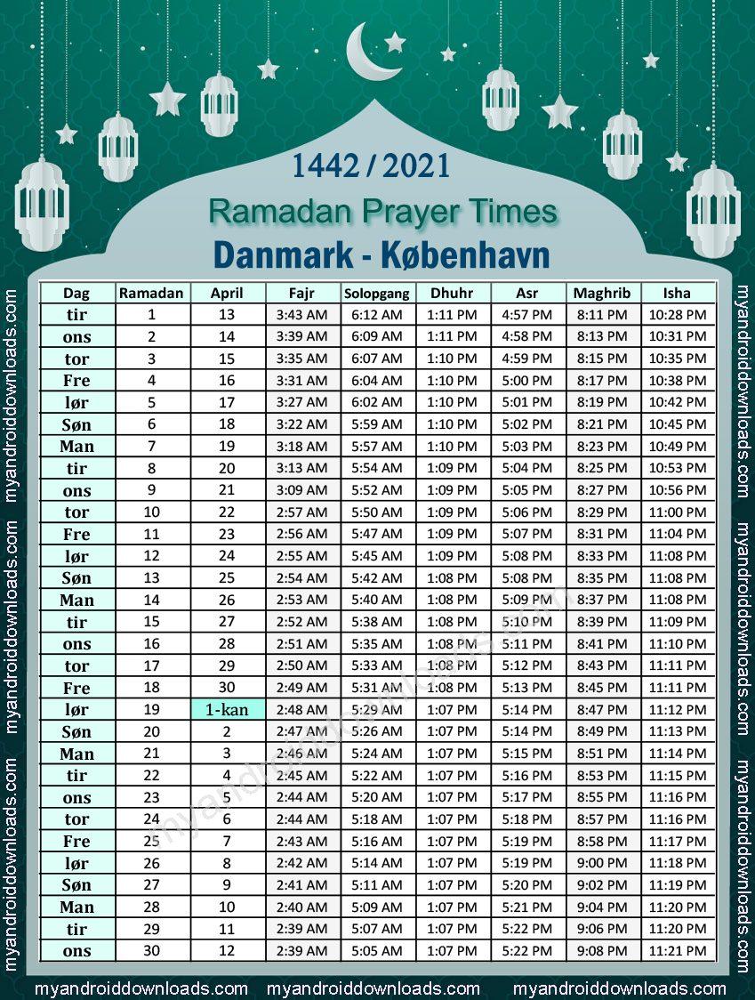 تحميل امساكية رمضان 2021 الدنمارك كوبنهاجن تقويم رمضان ٢٠٢١