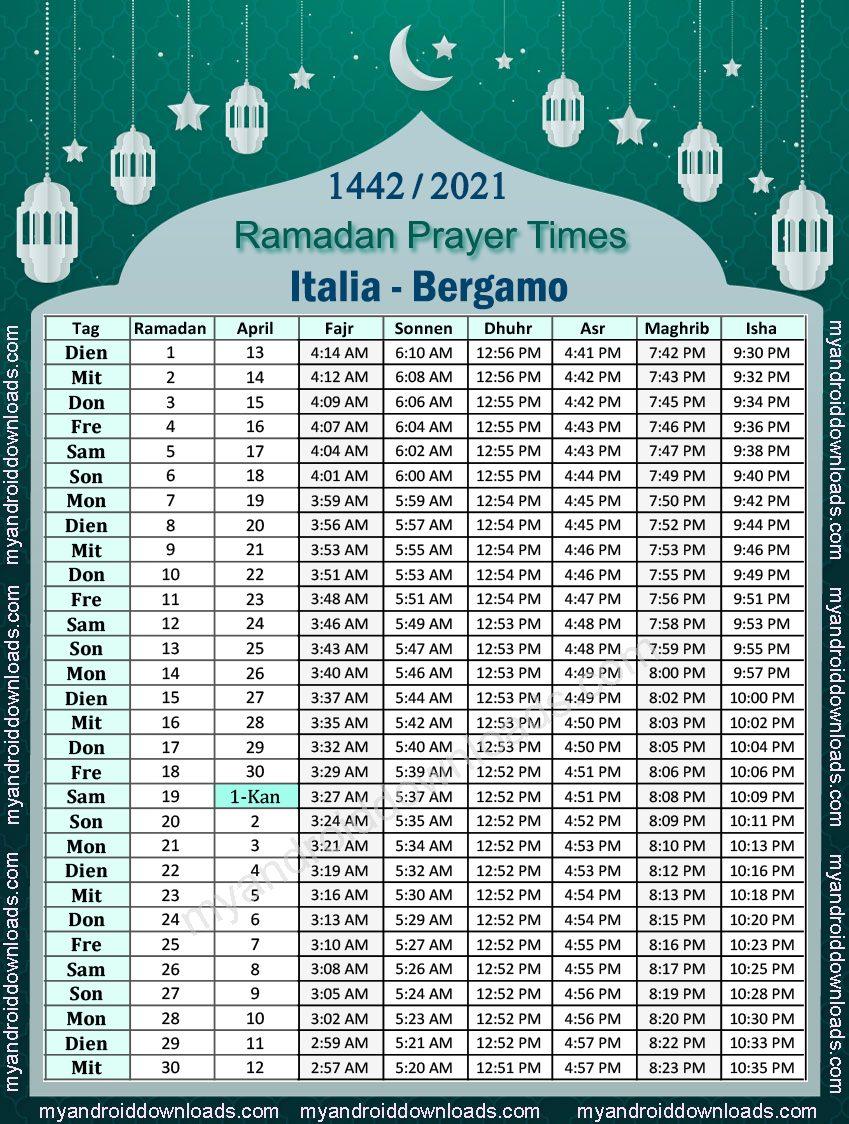 تحميل امساكية رمضان 2021 ايطاليا بيرغامو تقويم رمضان 1442