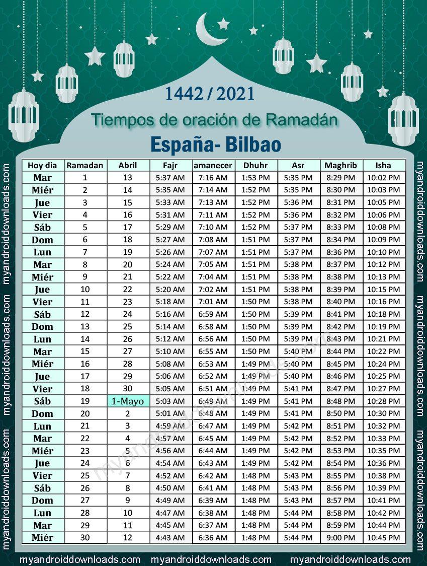 تحميل امساكية رمضان 2021 اسبانيا بلباو تقويم رمضان 1442