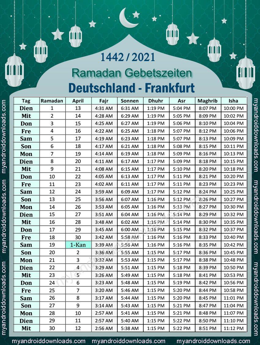 تحميل امساكية رمضان 2021 المانيا فرانكفورت، موعد الامساك والافطار 1442