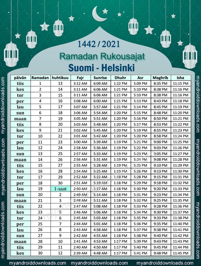 تحميل امساكية رمضان 2021 فنلندا هلسنكي تقويم 1442