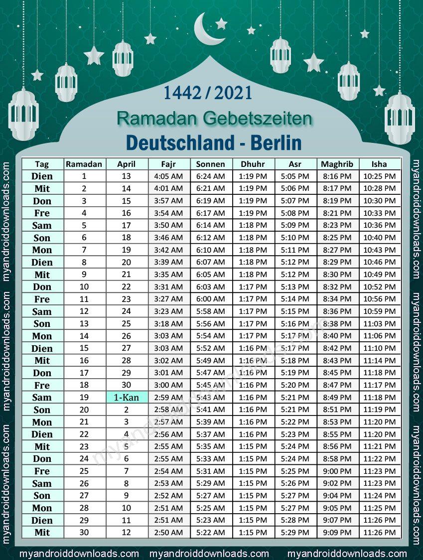 تحميل امساكية رمضان 2021 المانيا برلين