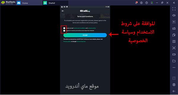 الموافقة على شروط الخصوصية لاتمام عملية تسجيل الدخول الى شاهد نت للكمبيوتر عربي