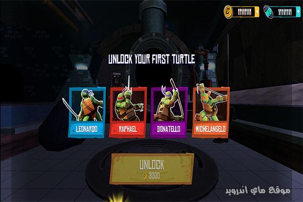 طريقة اللعب في لعبة المطاردة على السطوح Ninja Turtles مجانا للاندرويد